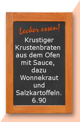 Mittagstisch am Dienstag den 19.09.2017: Krustiger Krustenbraten aus dem Ofen mit Sauce, dazu Wonnekraut und Salzkartoffeln.