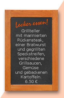 Mittagstisch am Donnerstag den 22.06.2017:Grillteller mit marinierten Rückensteak, einer Bratwurst und gegrillten Speckstreifen, verschiedene Grillsaucen, Gemüse und gebackenen Kartoffeln.