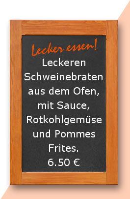 Mittagstisch am Donnerstag den 11.05.2017: Leckeren Schweinebraten aus dem Ofen, mit Sauce, Rotkohlgemüse und Pommes Frites.Leckeren Schweinebraten aus dem Ofen, mit Sauce, Rotkohlgemüse und Pommes Frites.