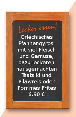 Mittagstisch am Freitag den 23.03.2017: Griechisches Pfannengyros mit viel Fleisch und Gemüse, dazu leckeren hausgemachten Tsatsiki und Pilawreis oder Pommes Frites 6,90 €