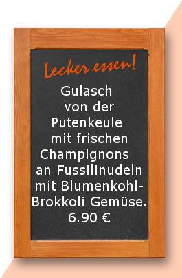 Mittagstisch amDonnerstag den 12.10.2017: Gulasch von der Putenkeule mit frischen Champignons  an Fussilinudeln mit Blumenkohl-Brokkoli Gemüse.