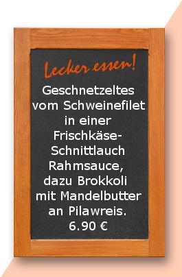 mittagstisch am Freitag den 08/.132.2017: Geschnetzeltes vom Schweinefilet in einer Frischkäse-Schnittlauch Rahmsauce, dazu Brokkoli mit Mandelbutter an Pilawreis.