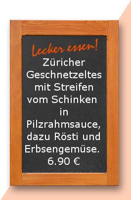 Mittagstisch am Montag den 18.09.2017: Züricher Geschnetzeltes mit Streifen vom Schinken in Pilzrahmsauce, dazu Rösti und Erbsengemüse.