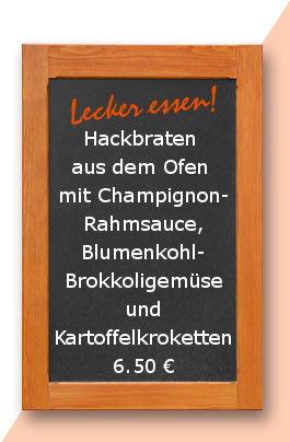 mittagstisch am Fretiag den 04.08.2017: Hackbraten aus dem Ofen mit Champignonrahmsauce, Blumenkohl- Brokkoligemüse und Kartoffelkroketten