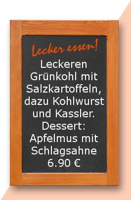Mittagstisch am Dienstag den 21.11.2017: Leckeren Grünkohl mit Salzkartoffeln, dazu Kohlwurst und Kassler. Dessert: Apfelmus mit Schlagsahne