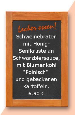 """Mittagstisch am Freitag den 15.12.2017: Schweinebraten mit Honig-Senfkruste an Schwarzbiersauce, mit Blumenkohl """"Polnisch"""" und gebackenen Kartoffeln."""