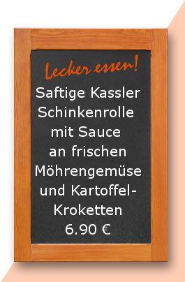 Mittagstsisch am Freitag den 12.01.2017: Saftige Kasslerschinkenrolle mit Sauce an frischen Möhrengemüse und Kartoffelkroketten 6,90 €