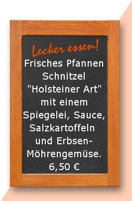 """Mittagstisch: Frisches Pfannen Schnitzel """"Holsteiner Art"""" mit einem Spiegelei, Sauce, Salzkartoffeln und Erbsen- Möhrengemüse."""