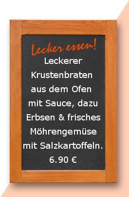 Mittagstisch am Dienstag den 10.04.2018: Leckerer Krustenbraten aus dem Ofen mit Sauce, dazu Erbsen & frisches Möhrengemüse mit Salzkartoffeln. 6,90 €
