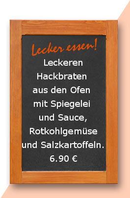 Mittagstisch am Donnerstag den 14.09.2017: Leckeren Hackbraten aus den Ofen mit Spiegelei und Sauce, Rotkohlgemüse und Salzkartoffeln.