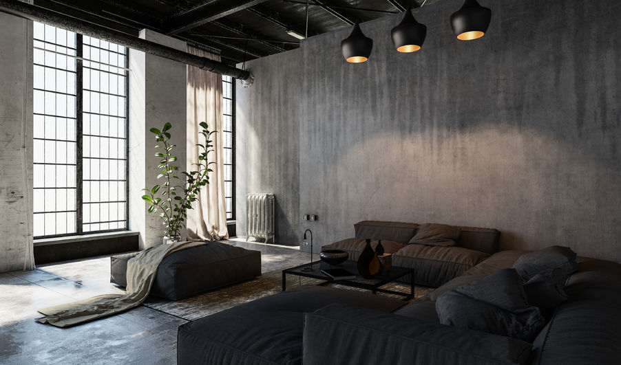Salon contemporain, Béton Ciré, Décoration Brute, Canapé Angle, Salon Murs Gris