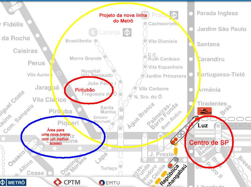Mapa da linha Laranja do Metrô