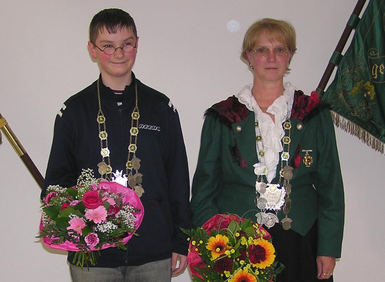 Schützenkönig 2004: Schützenkönigin: Angelika Rienecker und Jungschützenkönig: Tobias Blechschmidt