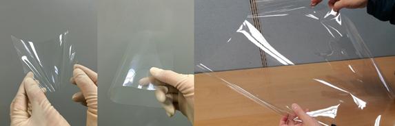 KOLON Industries(左)とSKC(右)の透明PIフィルム、参考:KOLON Industries