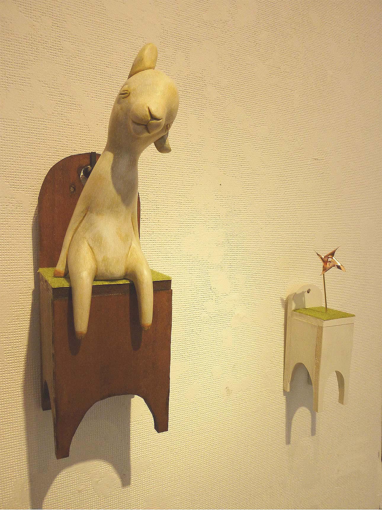 風をさがして 2010 桐塑 石塑 アクリル着彩 銅板