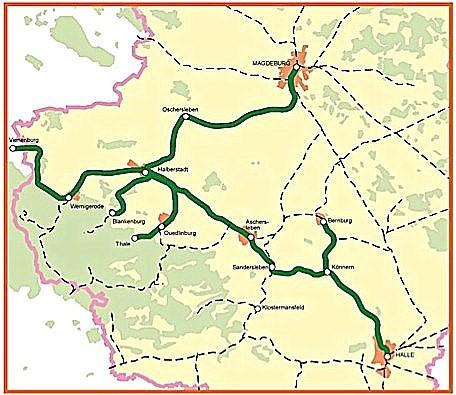 Das Nordharznetz im Land Sachsen-Anhalt (grün hervorgehoben)