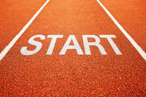 start auf sportplatz