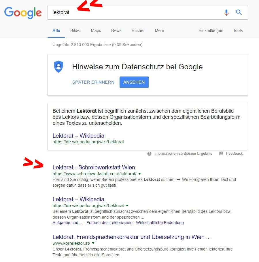 "Suchanfrage ""lektorat"" - Platz 1"