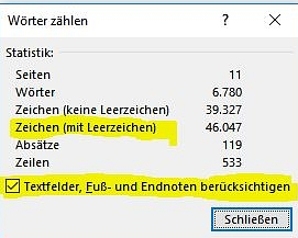 Screenshot mit Statistik aus Word