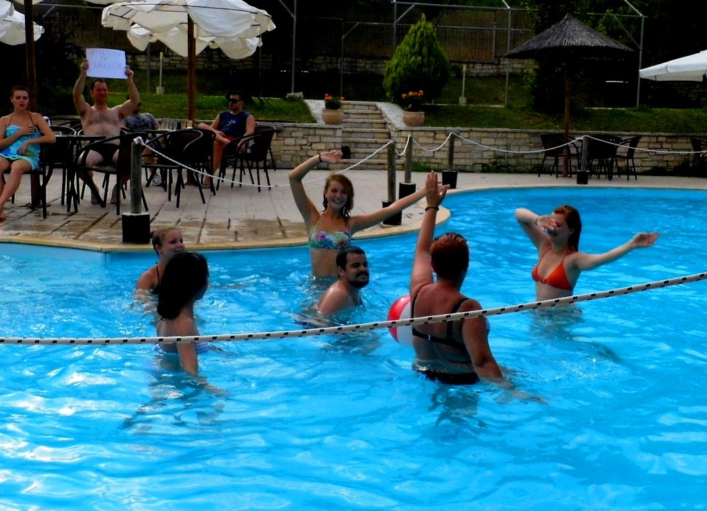 Participants demonstrating their show for competition of water aerobics shows