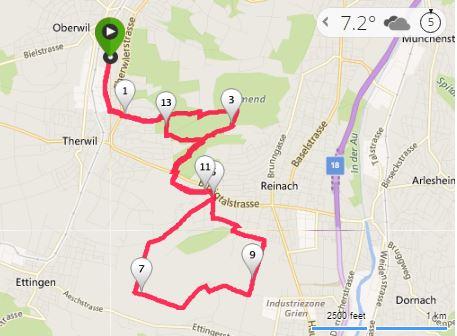 Streckenführung: 15km ca. 240m Höhendifferenz (Bild: Bing)
