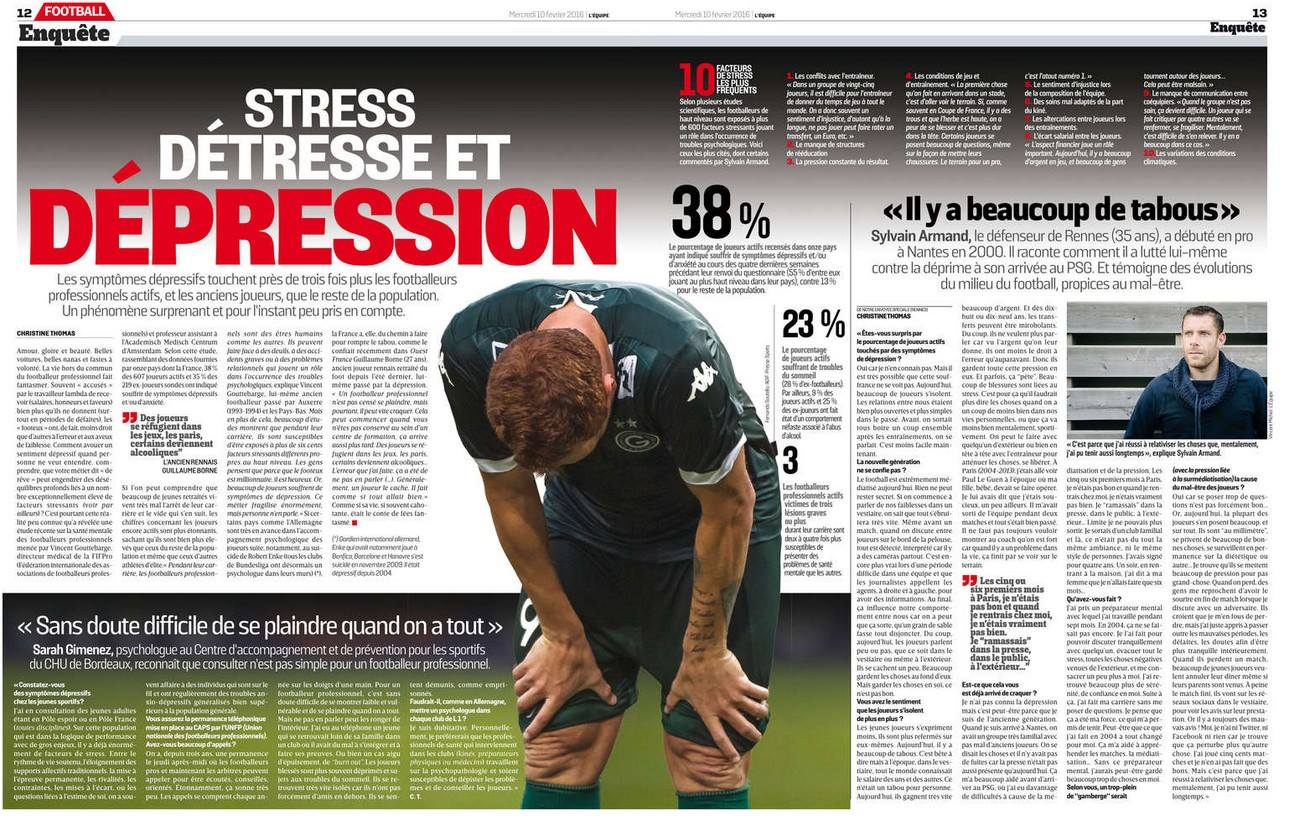stress et football, étude de la fifpro