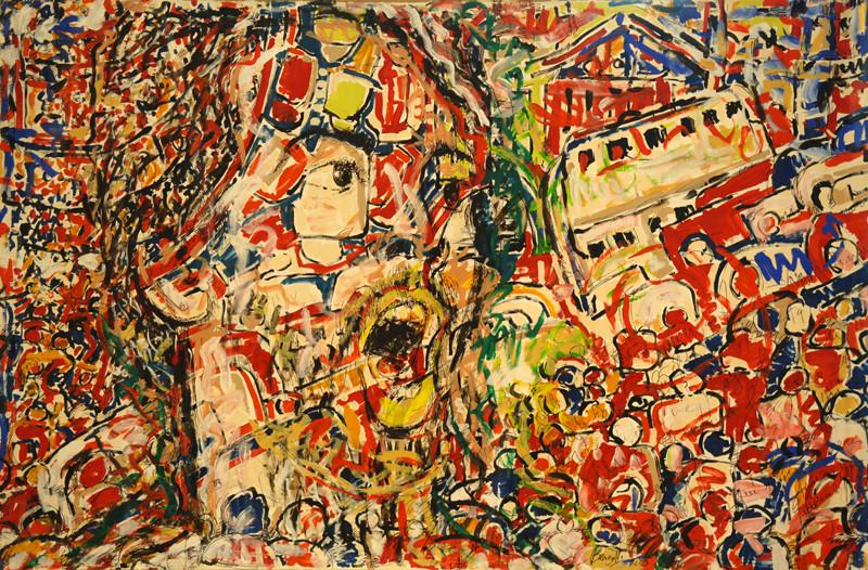 Ville Panique, acrylique sur toile, 3m50 x 2m20, 2005