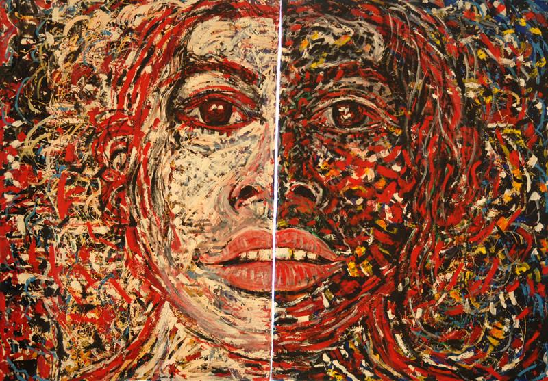 Femme Blanche, Femme Noire, acrylique sur toile, 4m40 x 3m, 1995