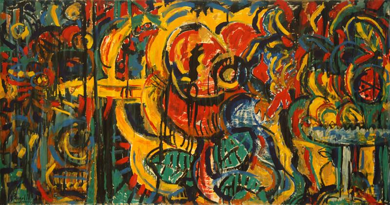 La Quête de l`Objet, acrylique sur toile, 4m10 x 2m20, 1984