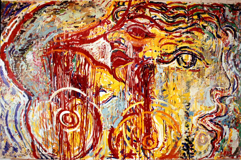 Effectuation de la séduction, acrylique sur toile, 4m x 2m, 1984