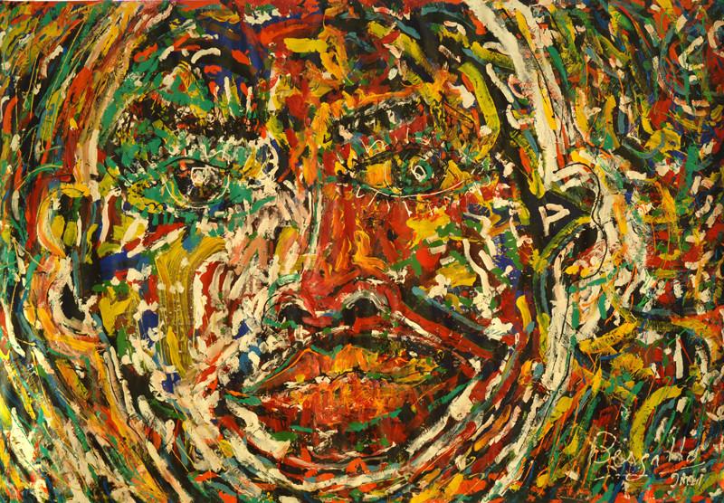 Portrait de la Folie, acrylique sur toile, 3m10 x 2m20, 2001