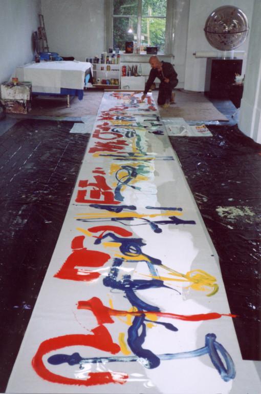 Signo, acrylique sous acetat, 11 m x 115 cm, 1990