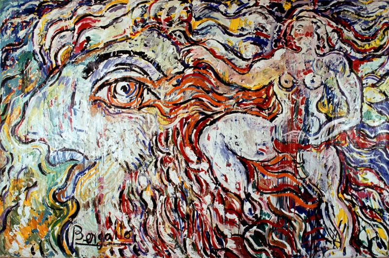 Le tremblement , acrylique sur toile, 3m60 x 2m, 1984
