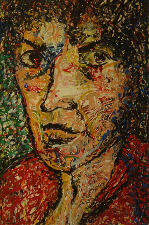 Portrait d'une Femme écrivaine, acrylique sur toile, 2m20 x 3m50, 1998