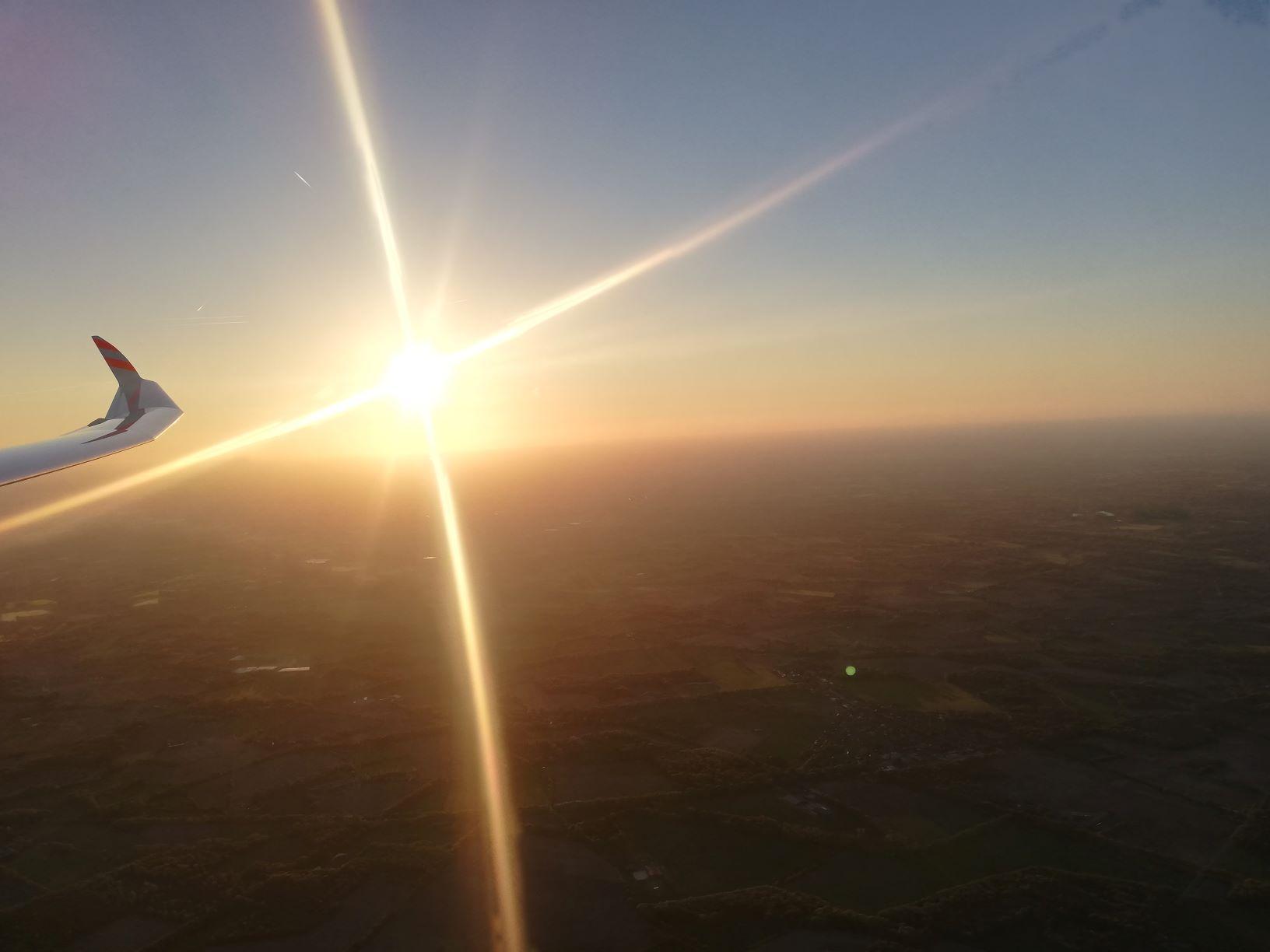 Sonnenuntergang nach dem ersten 1.000 km Flug von Stadtlohn aus