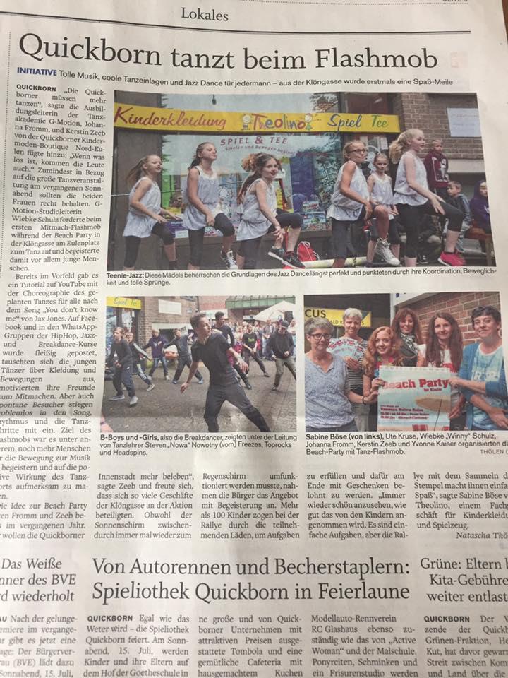 Beachparty am 01.07.2017 (Zeitung: Quickborner Tageblatt vom 04.07.17)