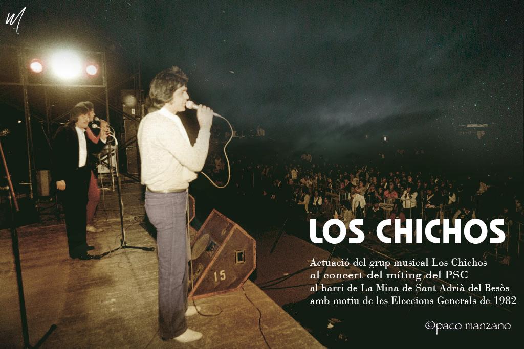 Actuació del grup musical Los Chichos al concert del míting del PSC al barri de La Mina de Sant Adrià del Besòs amb motiu de les Eleccions Generals de 1982.