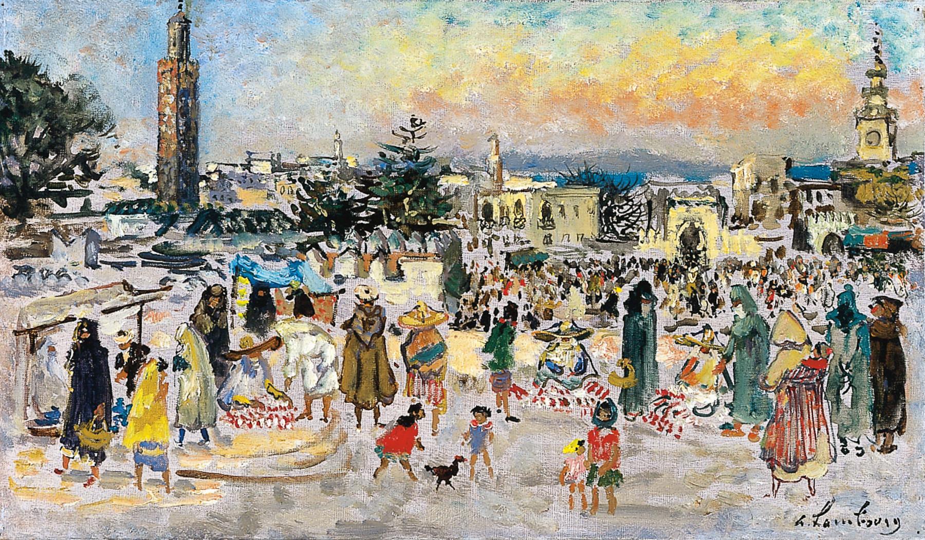 «La Grande Place à Tanger» 1966, 27cmx46cm, MG 145