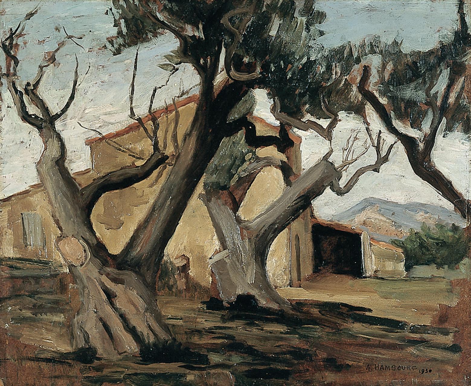 «Oliviers dans le midi» 1930, 38cmx46, SU5