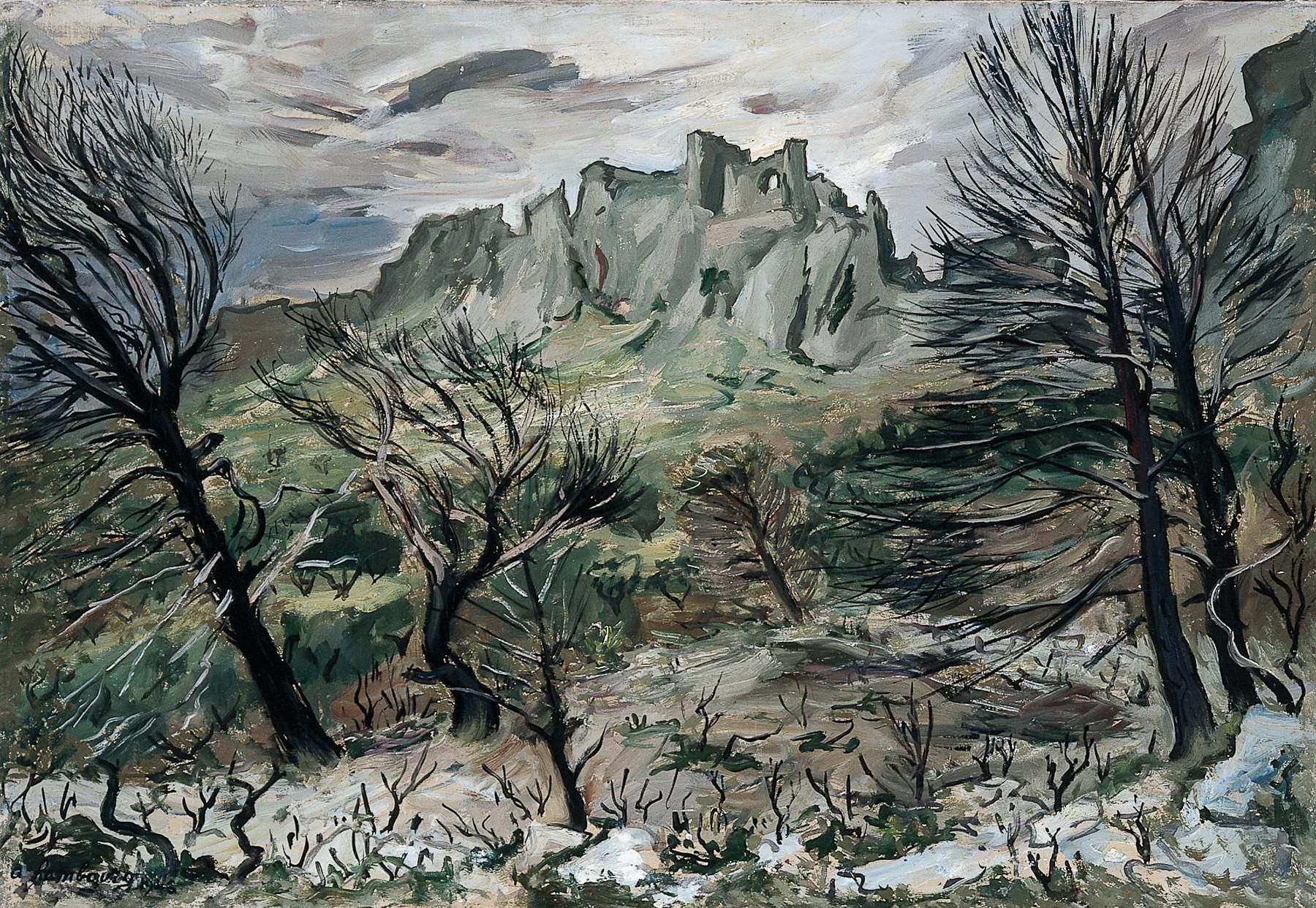 «Sous les Baux, ou sous les Baux, ciel chargé» 1946, 50cmx72cm, SR6