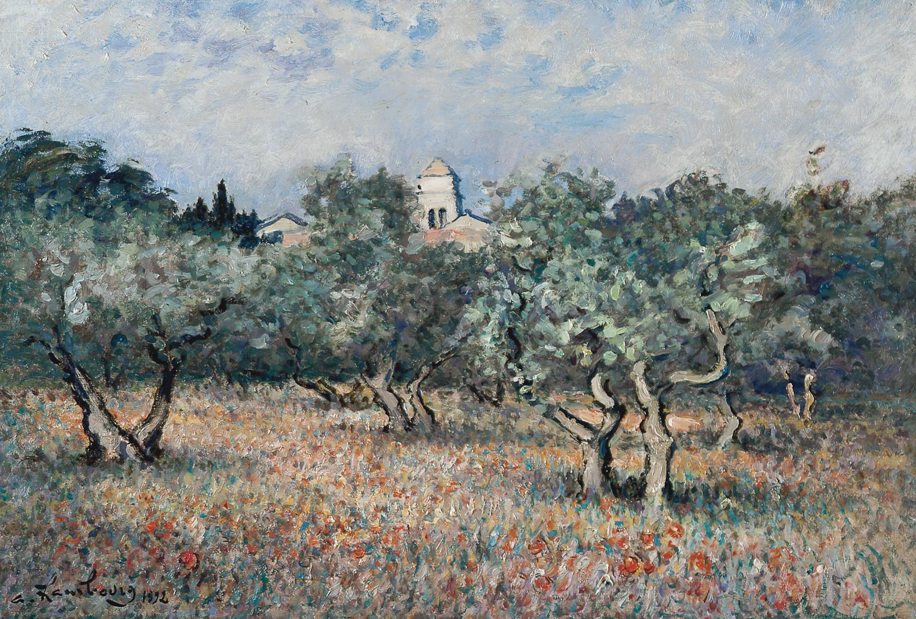 «Les oliviers, le matin au printemps, temps doux» 1992, 50cmx73cm, SR143