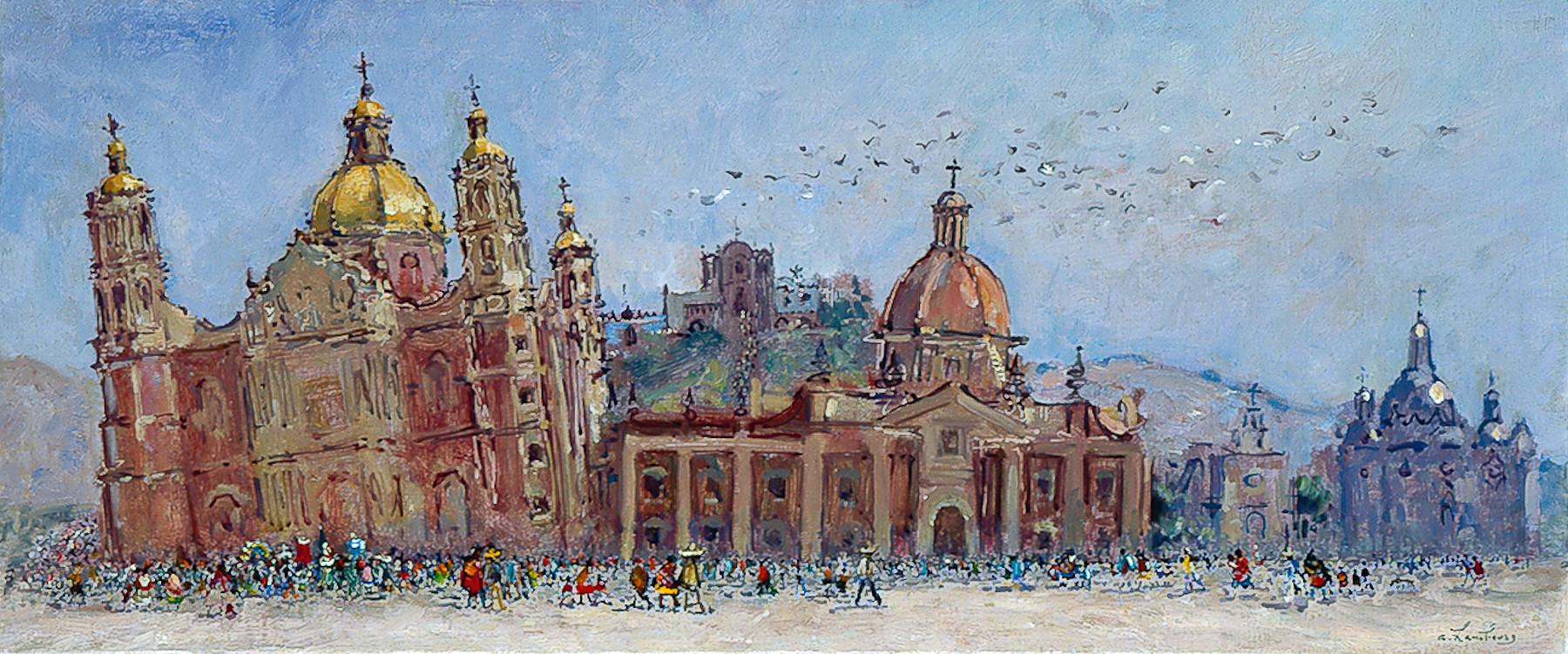 «A la Guadalupe en Mars» ou «A Mexico l'ancienne basilique et l'église perchée» 1978, 31cmx73cm, DP35