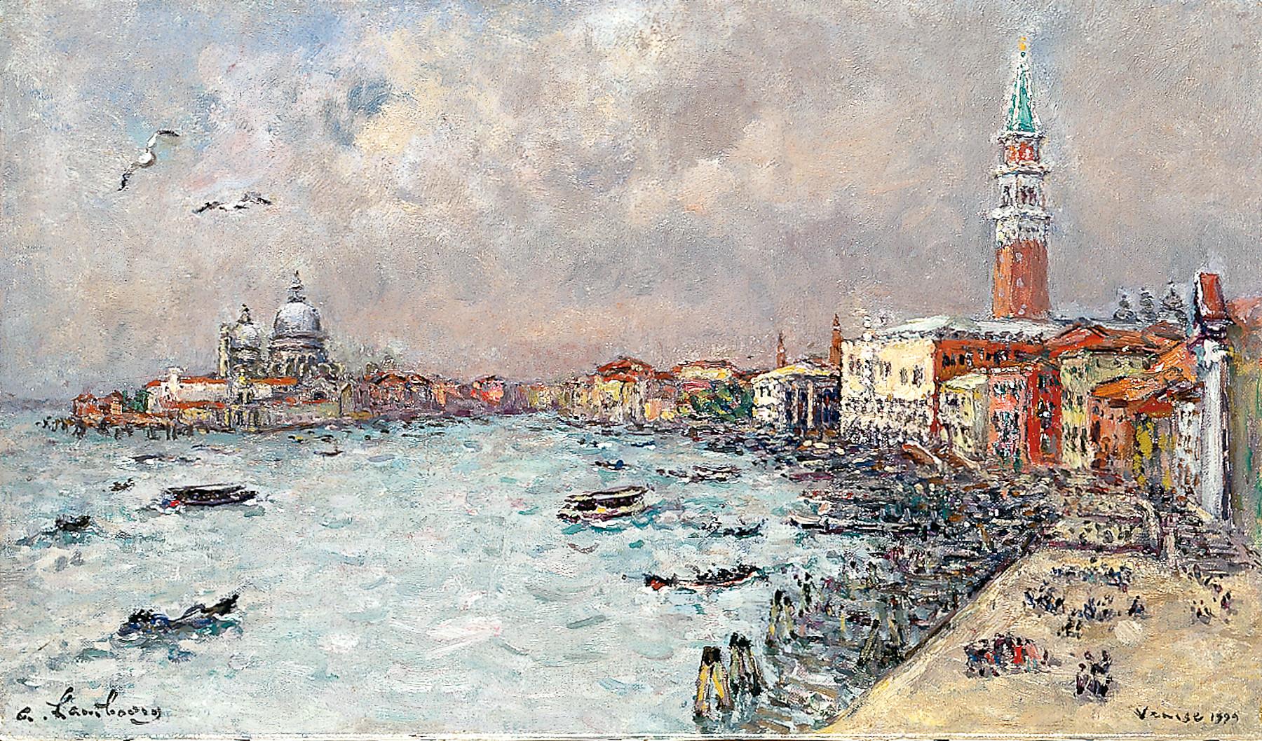 «En mai 1999 au Gabrielli à Venise, pour mon 90 ème anniversaire» 1999, 27cmx46cm, VE201