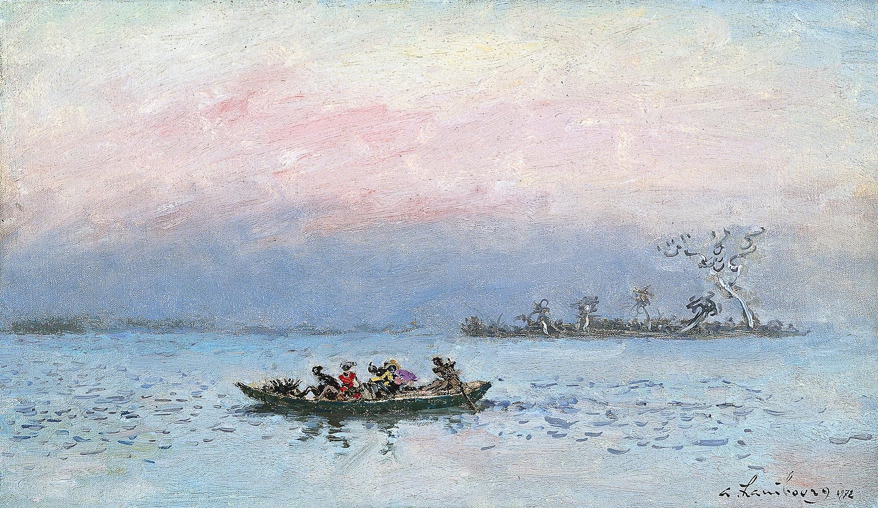«Sur la Lagune vers Abidjan l'après-midi, l'heure rose» 1972, 27cmx46cm, CI45