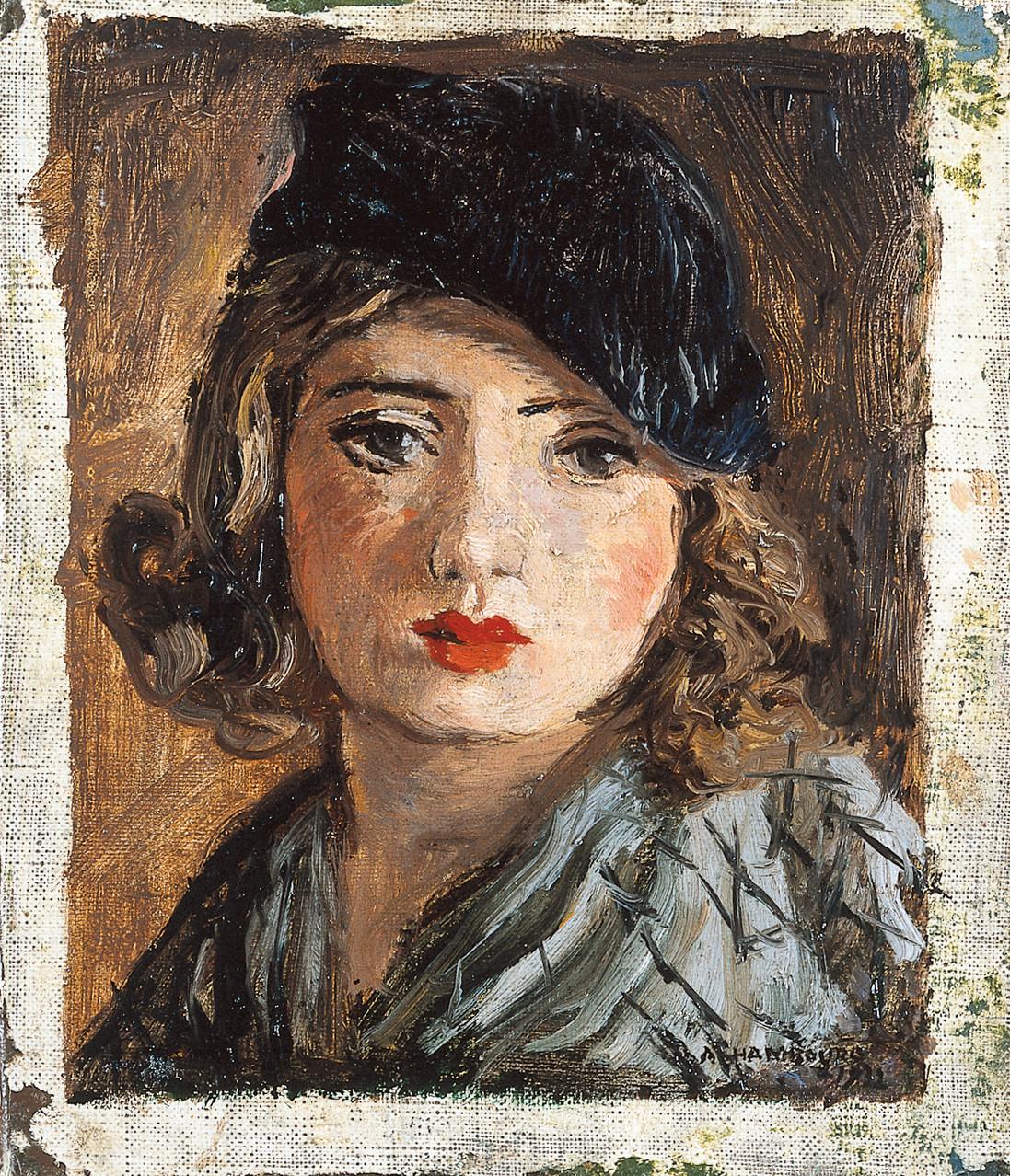 «La blonde au béret» 1932, 15,5cmx13cm, PO11
