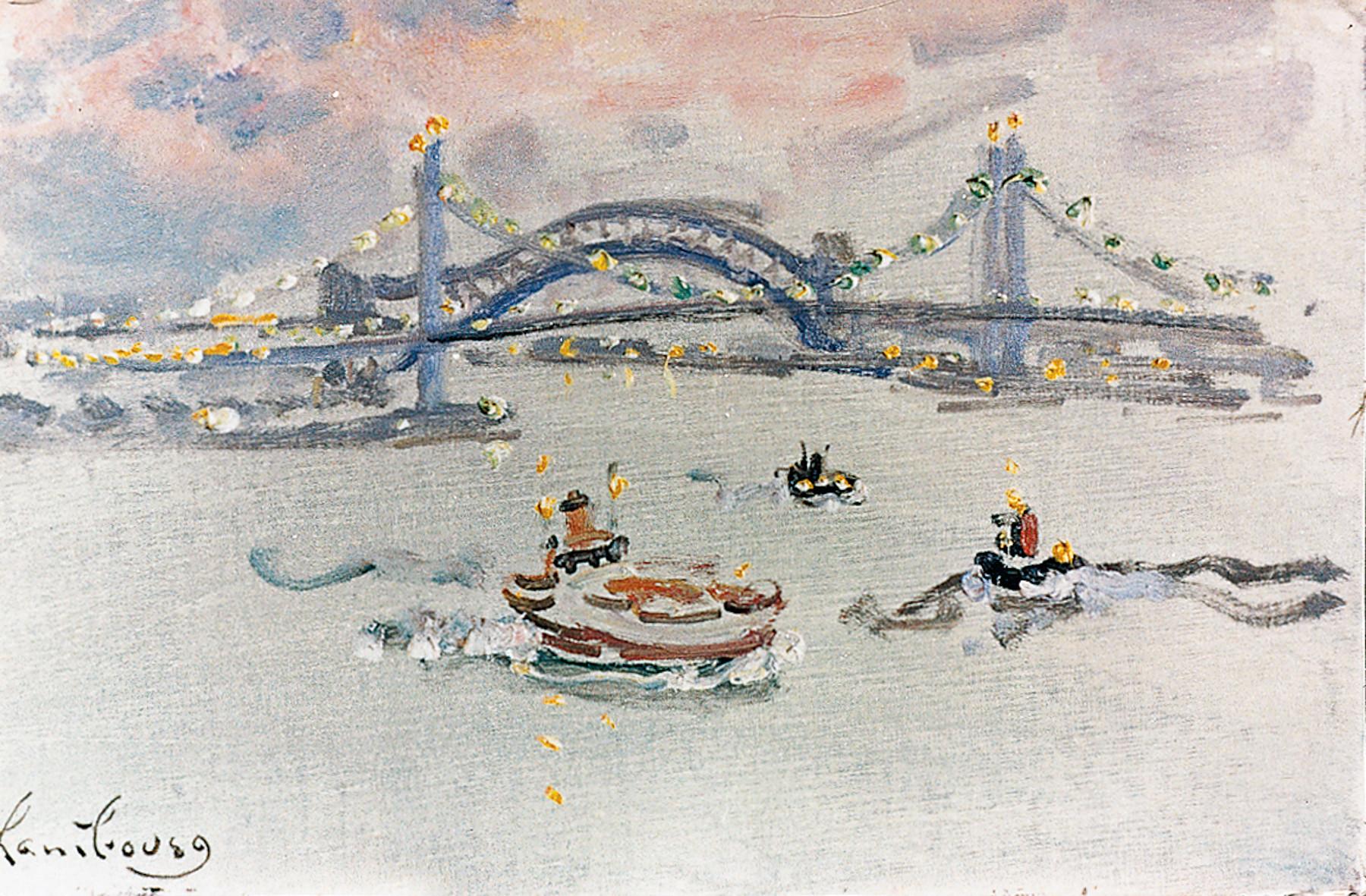«East River, le soir au printemps»1973, 27cmx46cm, NY19