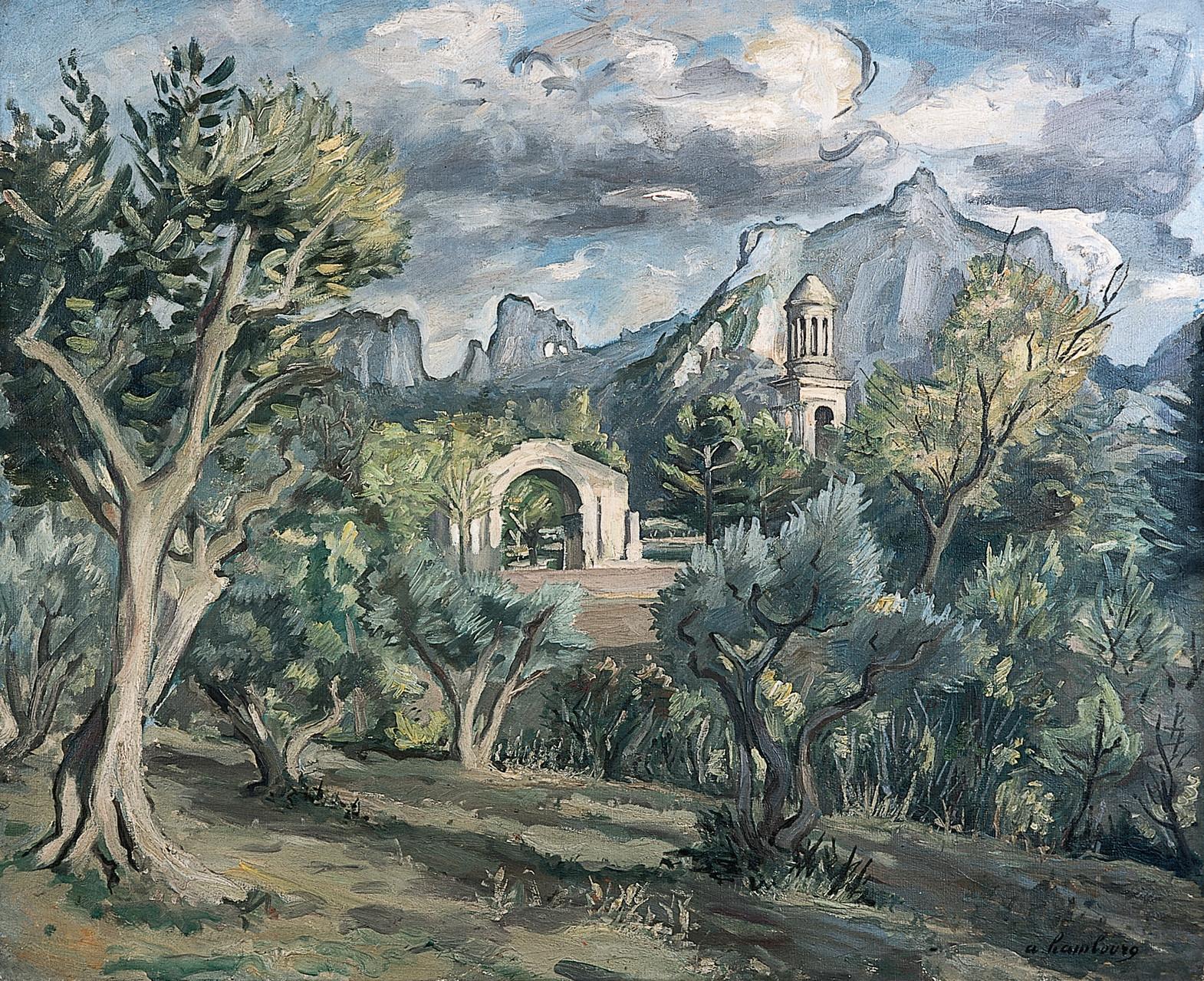 Sans titre (vue sur les Antiques et les Alpilles) circa 1947 60x73cm SR13