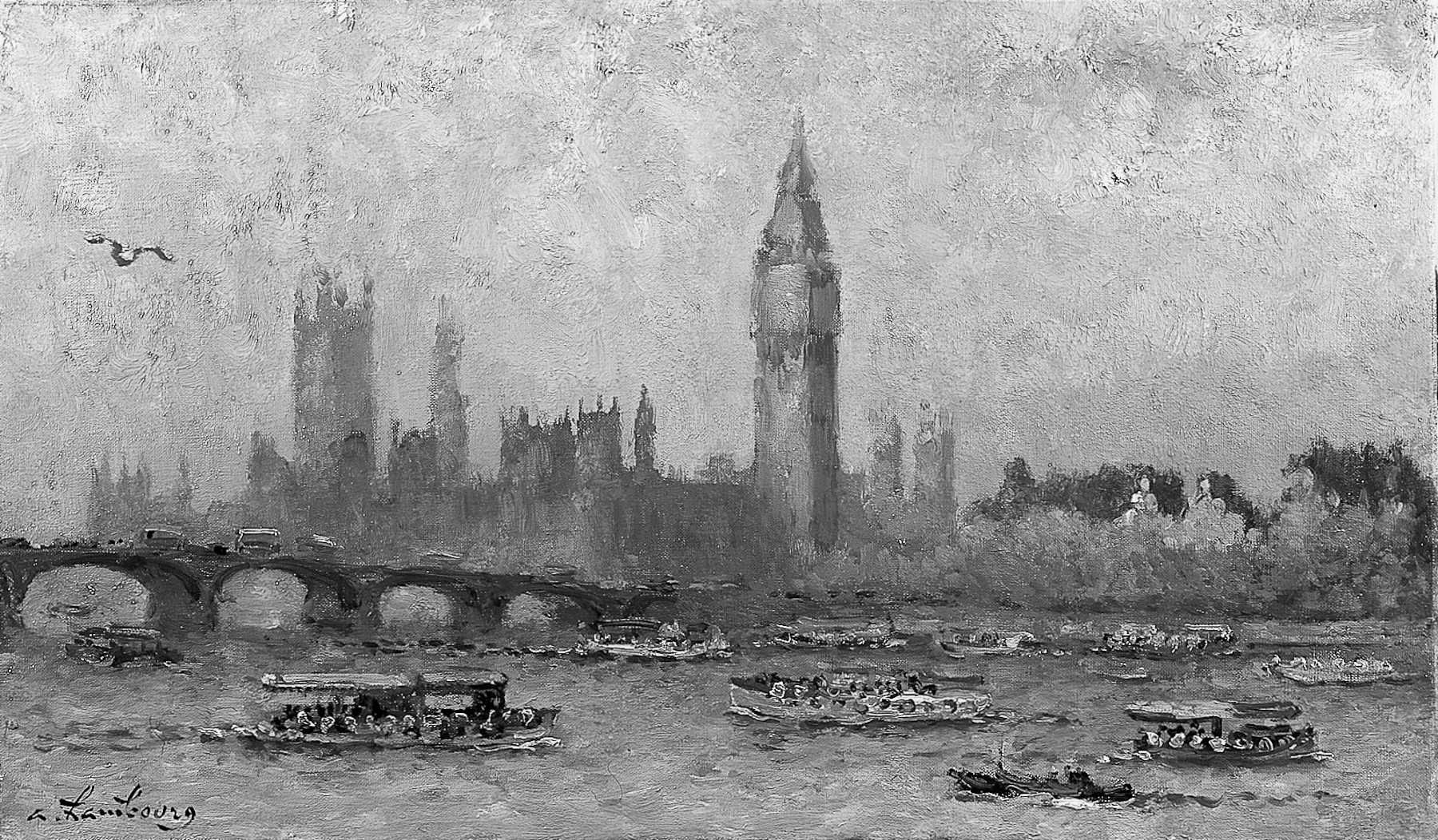 «La tamise, devant le Parlement» 1966, 50cmx61cm, LO7
