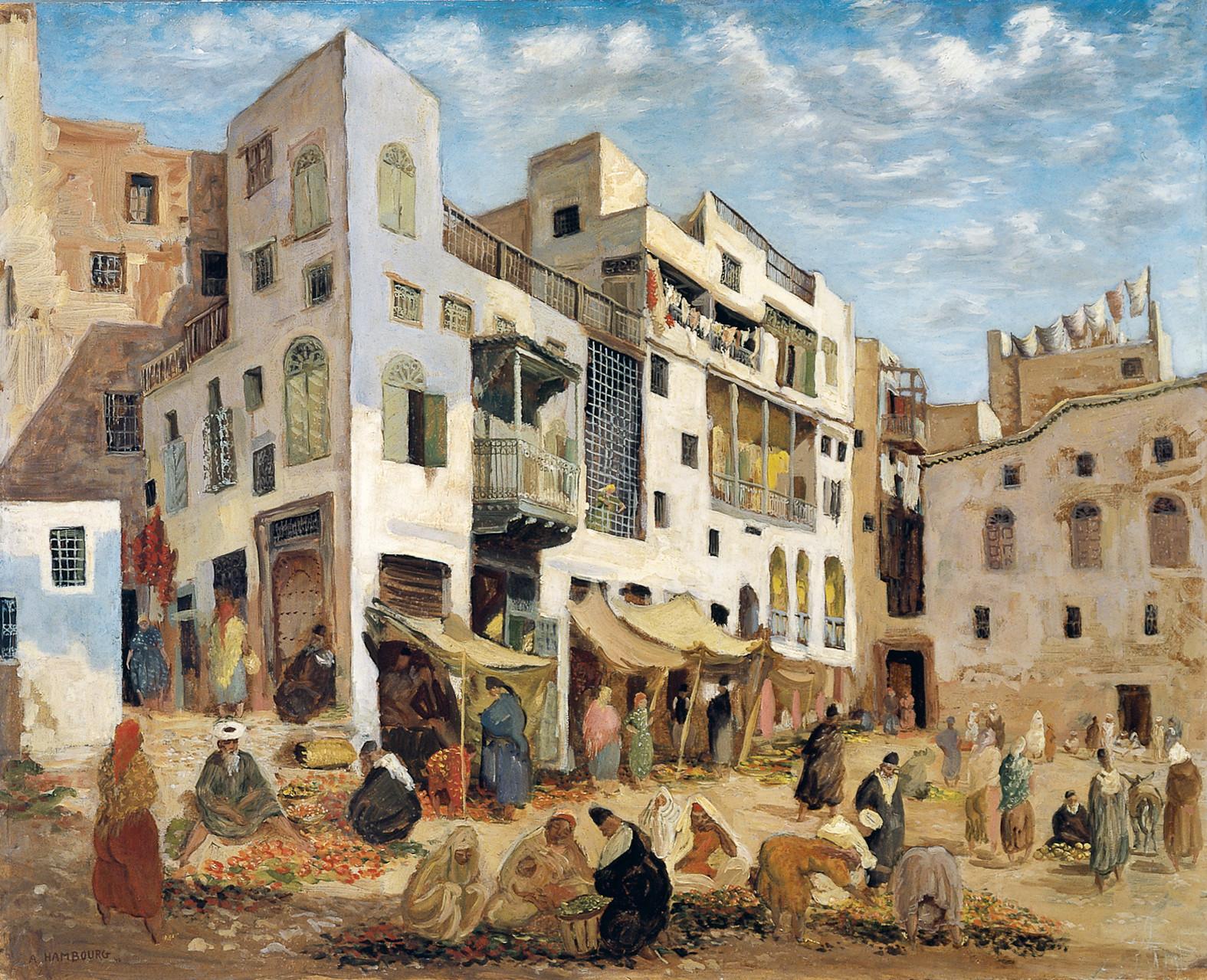 «Le marché du Mellah» 1940, 80cmx100cm, MG 124