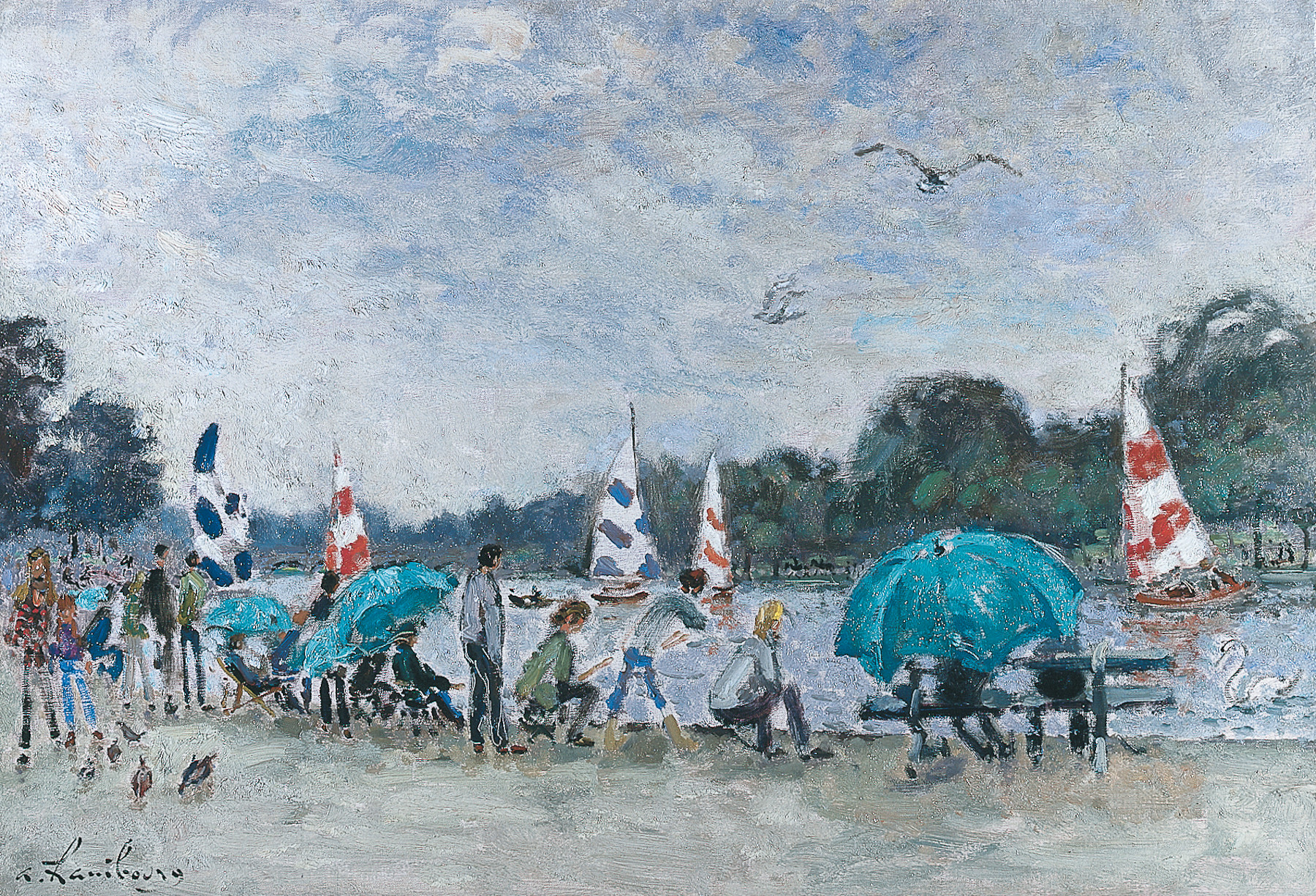 «Le dimanche pluie menaçantes pour les pêcheurs» 1970, 150x73cm, LO17